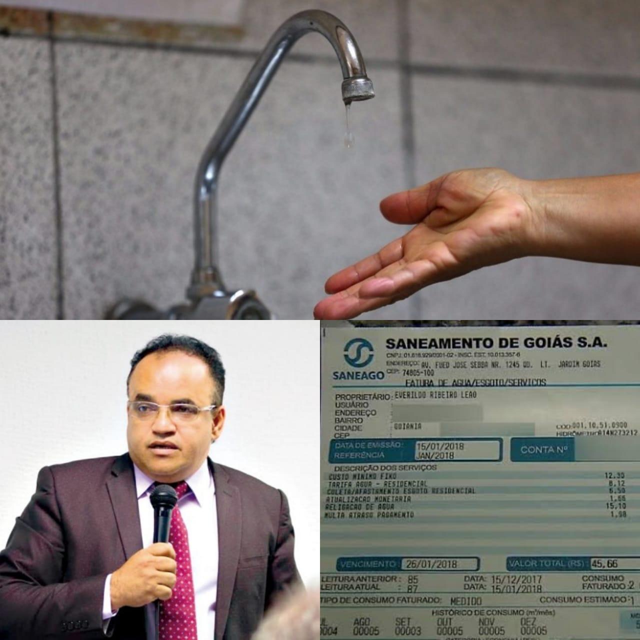 Vereador quer explicação da Saneago para aumento de tarifas de água e esgoto