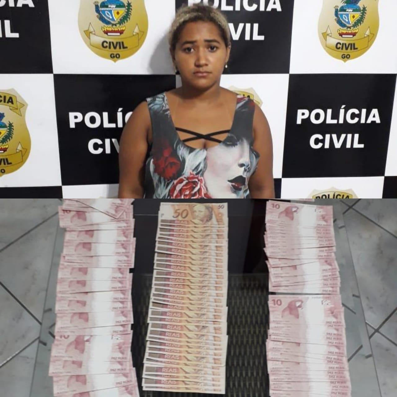 Mulher compra R$ 4 mil em notas falsas pela web e acaba presa ao receber a encomenda em Aparecida de Goiânia