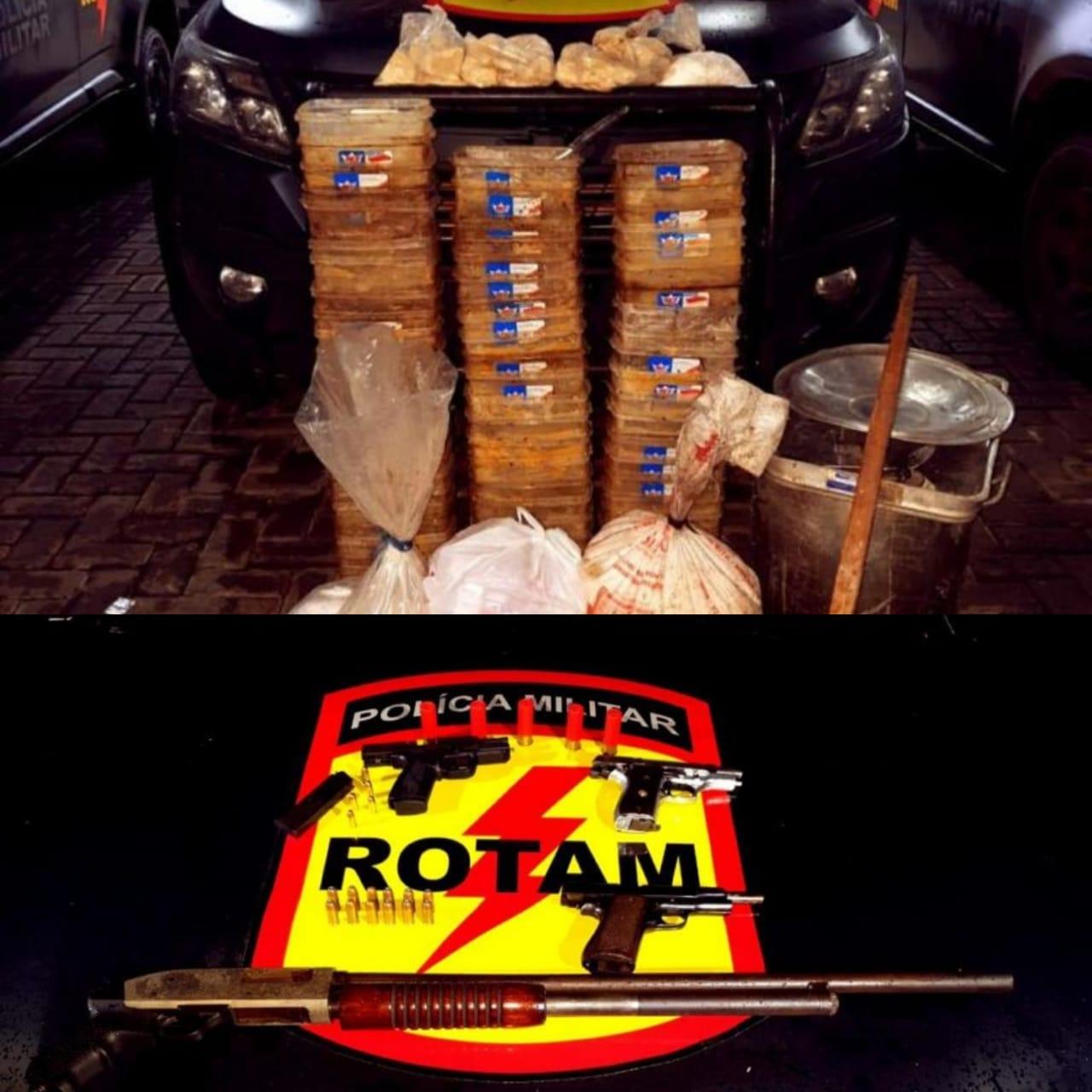 Rotam apreende mais de 100 quilos de cocaína, armas e veículo roubado