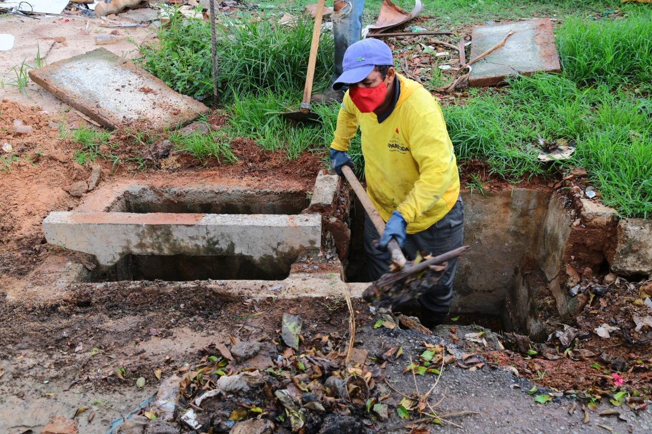 Prefeitura de Aparecida intensifica ações preventivas de limpeza de bocas de lobo durante período chuvoso